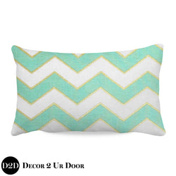 Mint Glitz Lumbar Nursery Throw Pillow Cover