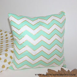 Mint & Gold Chevron Square Throw Pillow Cover