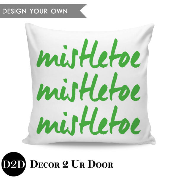 Mistletoe Square Throw Pillow Cover