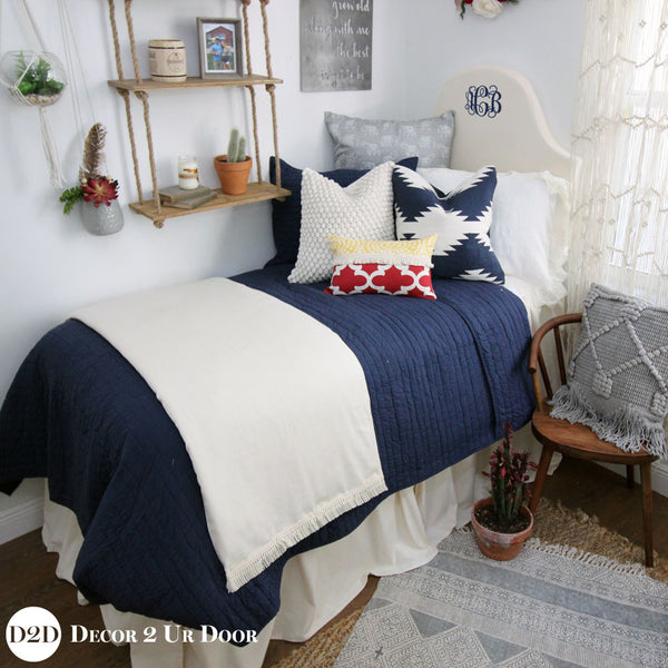 Solid Ivory Dorm Bed Skirt & Headboard Bundle