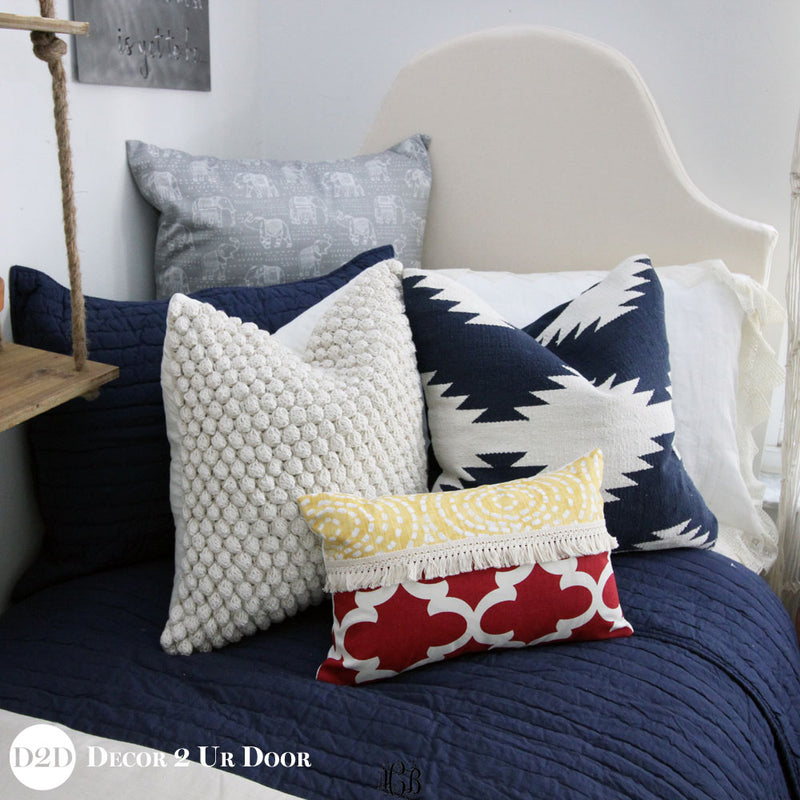 Navy & White Aztec Tribal Square Pillow Cover