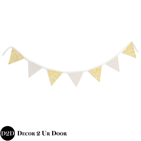 Yellow & Ivory Wall Fabric Pennant Banner