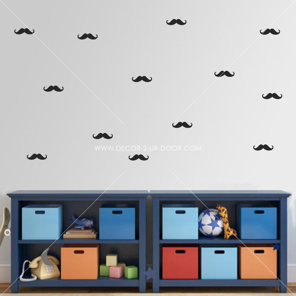 Mini Mustaches Vinyl Wall Decals
