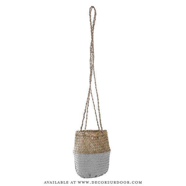 Natural & Light Grey Hanging Seagrass Basket