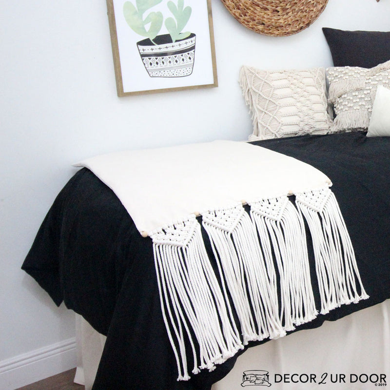Black Macrame Dorm Bedding Set