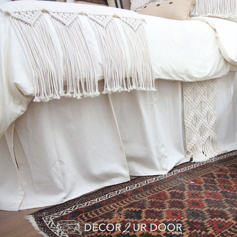 Ivory and Natural Macrame Extra Long Dorm Bed Skirt