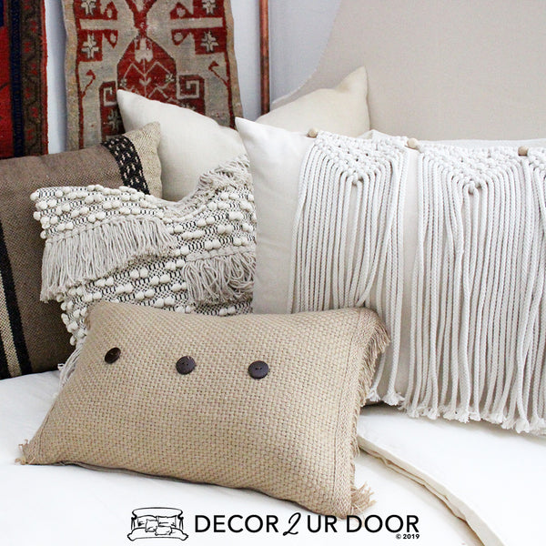 Natural Macrame Pillow Pile