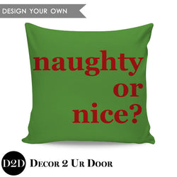 Naughty or Nice? Square Throw Pillow Cover