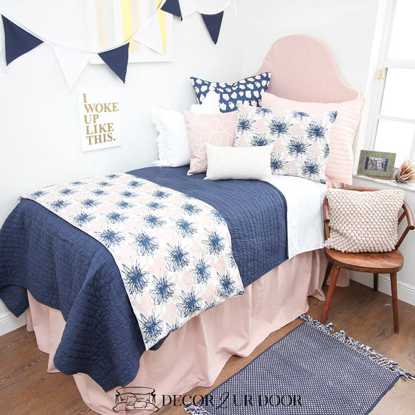 Blush Pink Linen Dorm Bed Skirt & Headboard Bundle