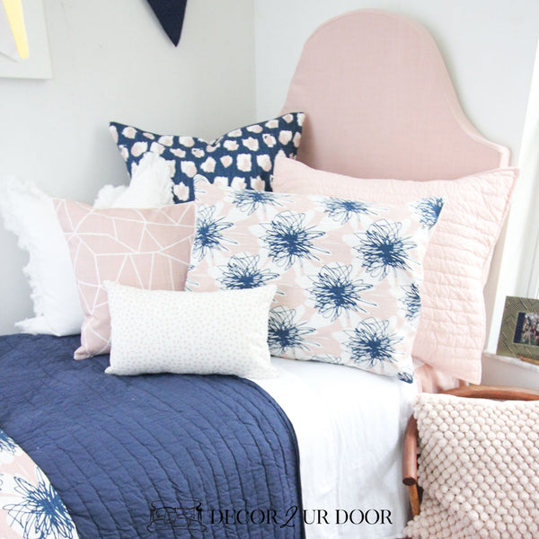 Blush Pink Linen Padded Fabric Headboard