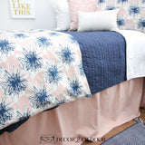 Blush Pink Linen & Navy Floral Dorm Bedding Set