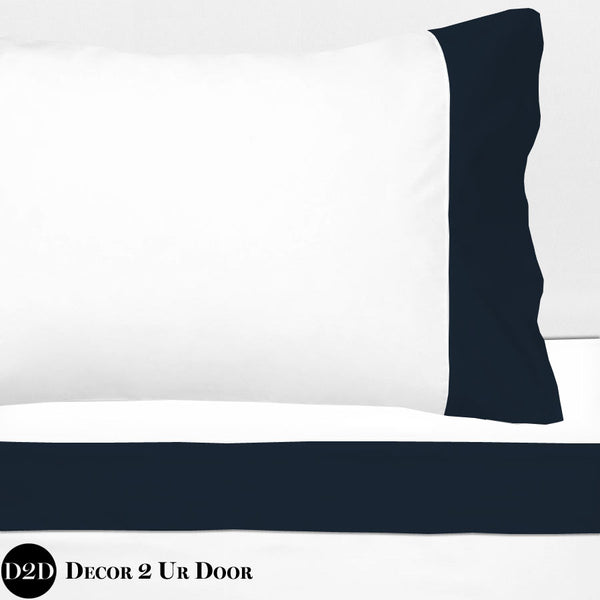 Navy 100% Cotton Banded Sheet Set