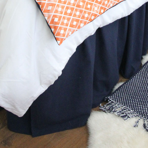 "Solid Navy 15"" Drop Bed Skirt"