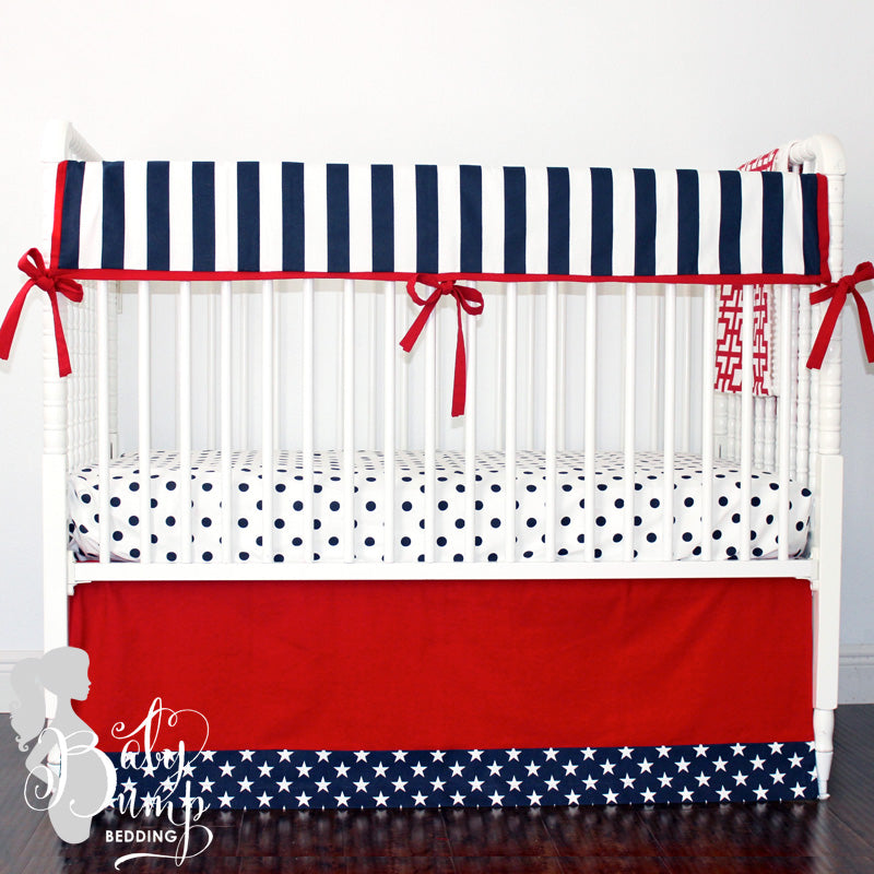 Solid Red & Navy Blue Stars Baby Crib Skirt