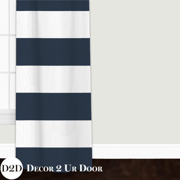Navy Stripes Closet + Window Curtain