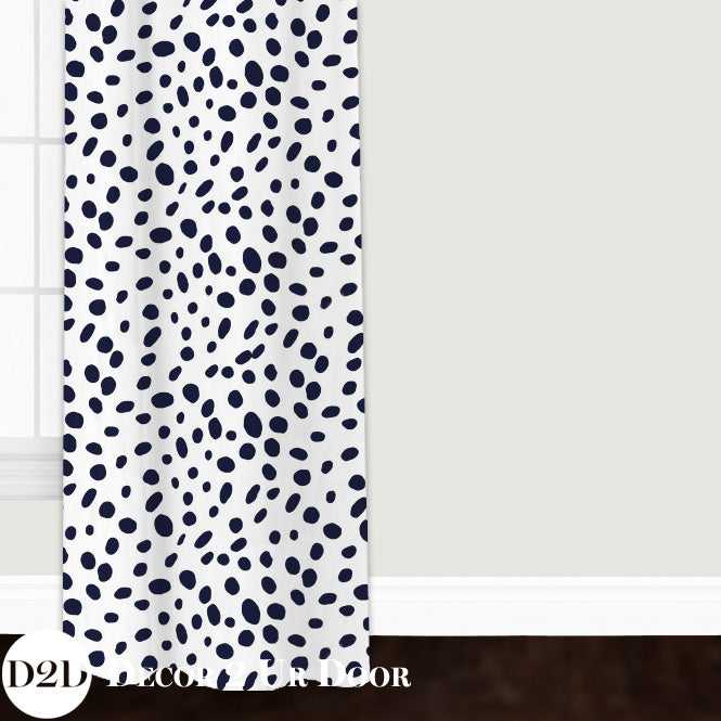 Navy Dalmatian Print Closet + Window Curtain