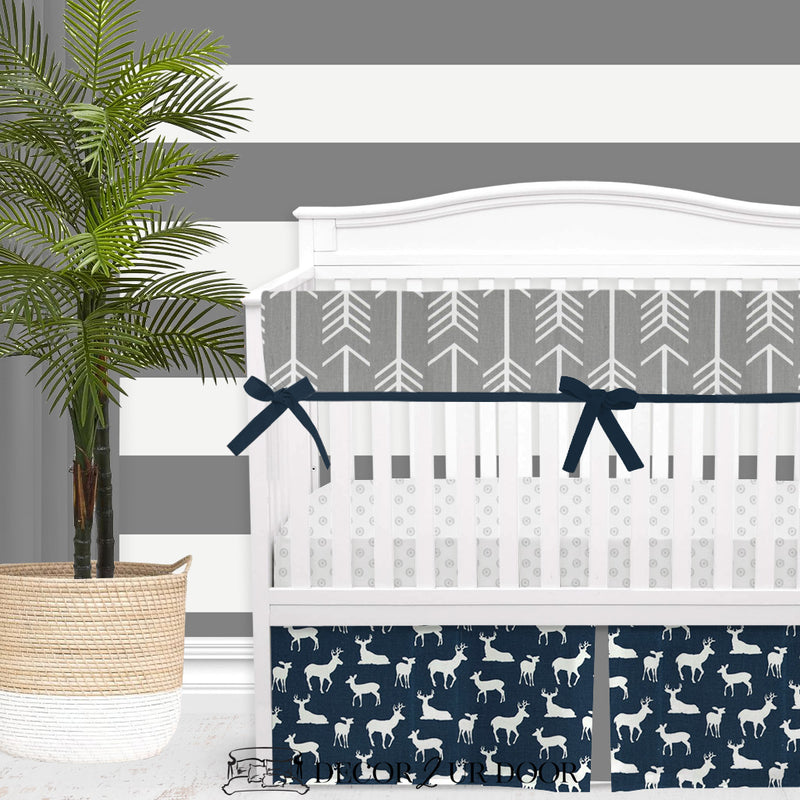Navy Deer Woodland Baby Boy Crib Bedding Set