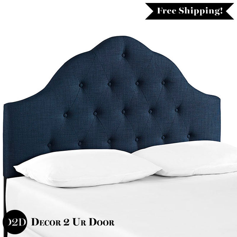 Navy Tufted Fabric Headboard