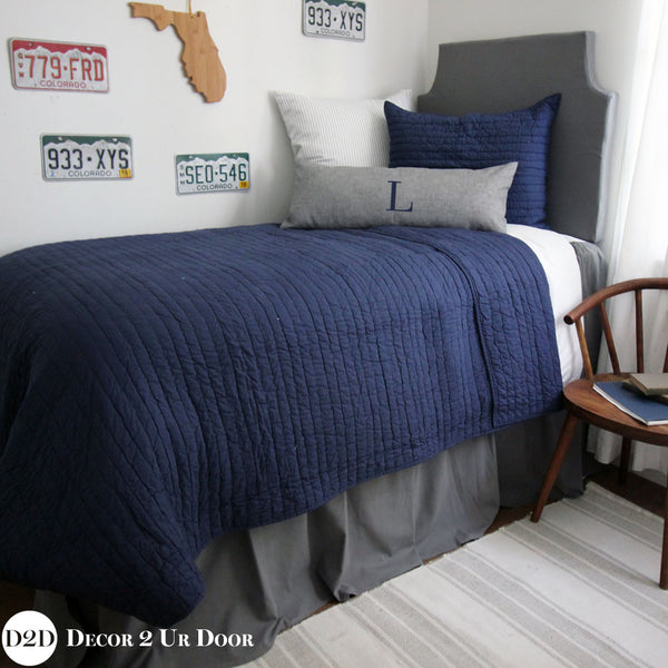 Navy & Grey Guys Dorm Bedding Set
