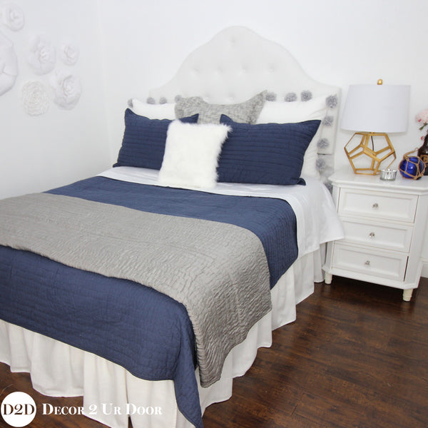 Navy, Grey & White Designer Bedding Collection