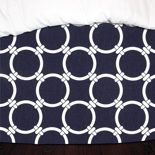 Navy Blue Links Designer Dorm Bed Skirt