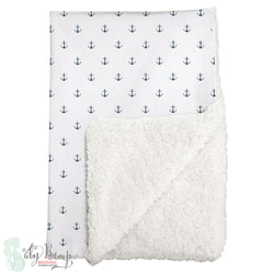 Navy Mini Anchors Nautical Sherpa Baby Blanket