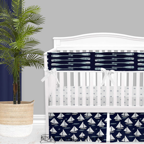 Navy Nautical Oars & Sailboat Baby Boy Crib Bedding Set