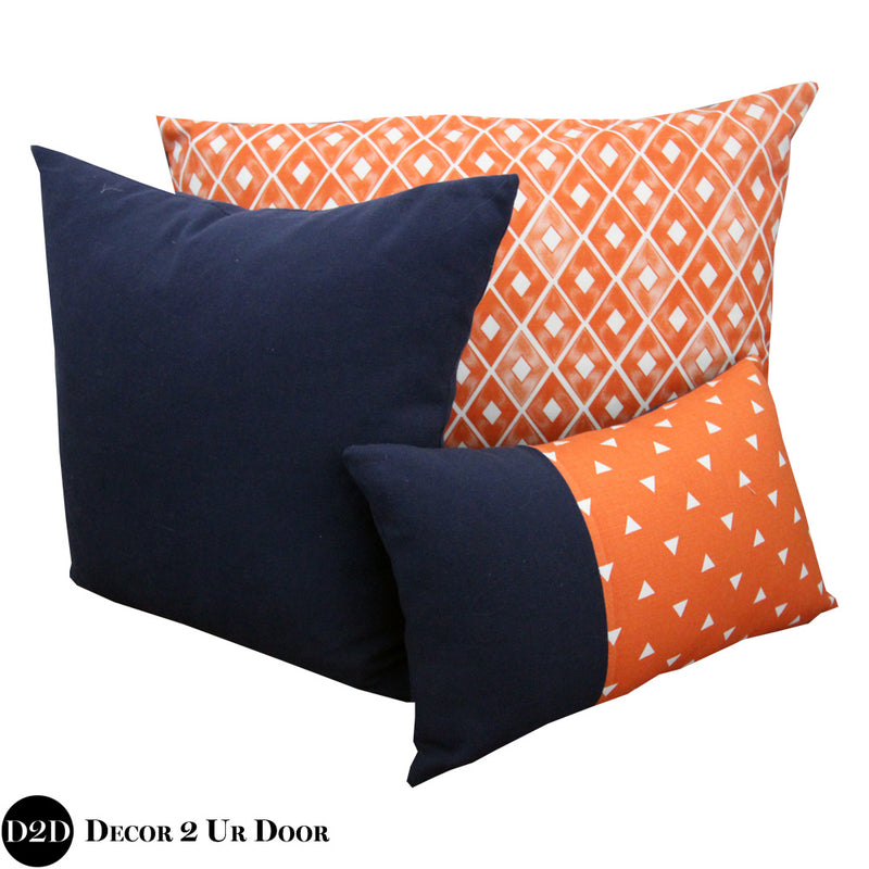 Navy & Orange Pillow Pile