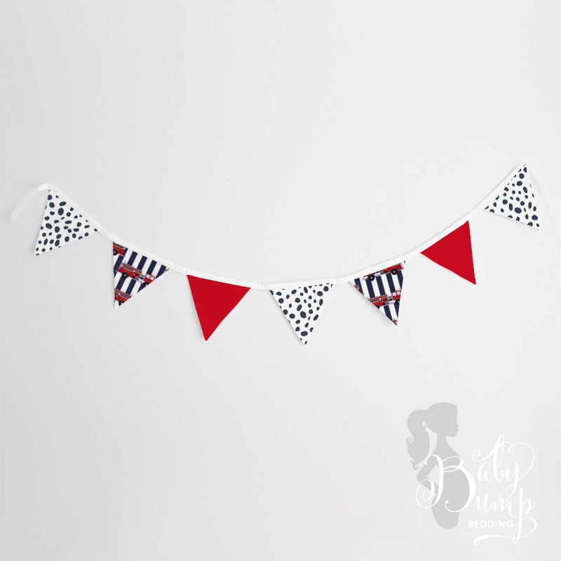 Navy & Red Dalmatian Firefighter Wall Fabric Pennant Banner
