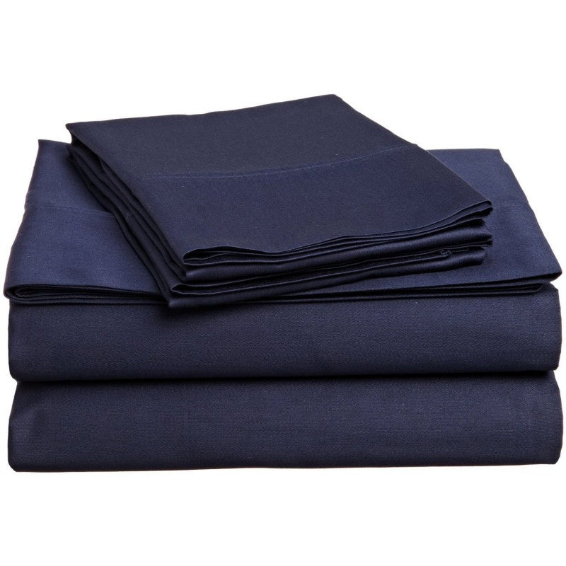 Solid Navy 300 Thread Count 100% Cotton Sheet Set