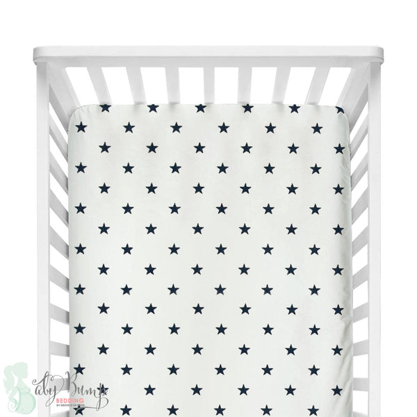 White and Navy Blue Stars Fitted Crib Sheet