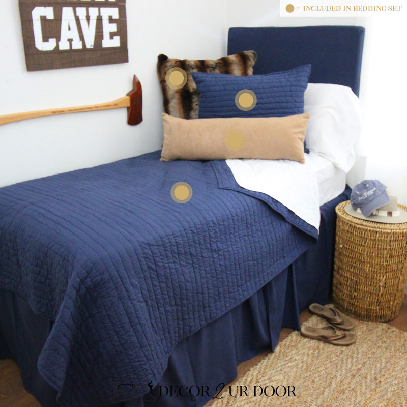 Navy Tan Suede Guys Dorm Bedding Set
