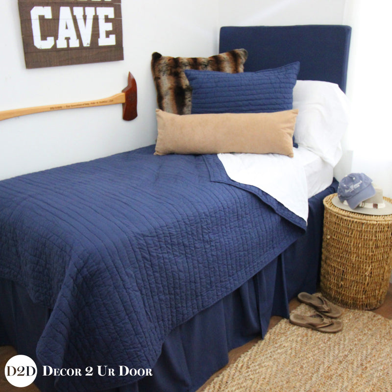 Navy, Tan Suede & Brown Fur Pillow Pile