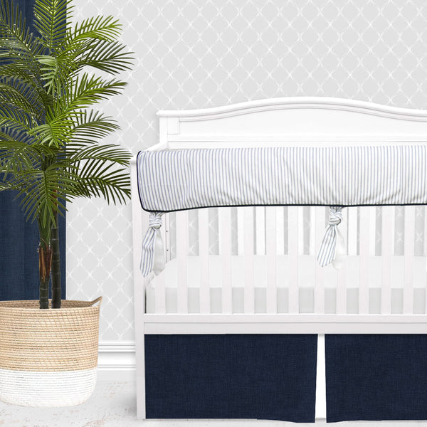 Farmhouse Navy & White Ticking Stripe Gender Neutral Crib Bedding Set