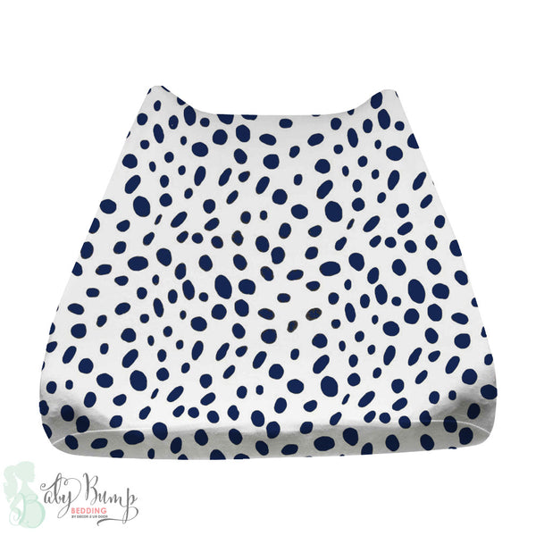 Navy Dalmatian Print Baby Changing Pad Cover