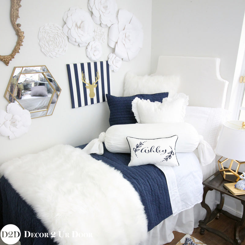 Navy & White Faux Fur Designer Bedding Collection