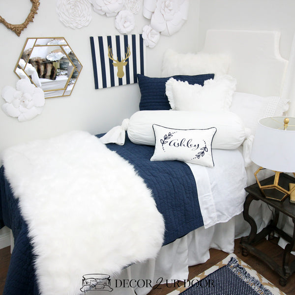 Navy White Fur Dorm Bedding Set