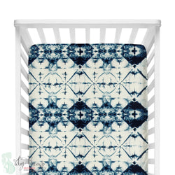 Navy and White Ombre Tribal Fitted Crib Sheet