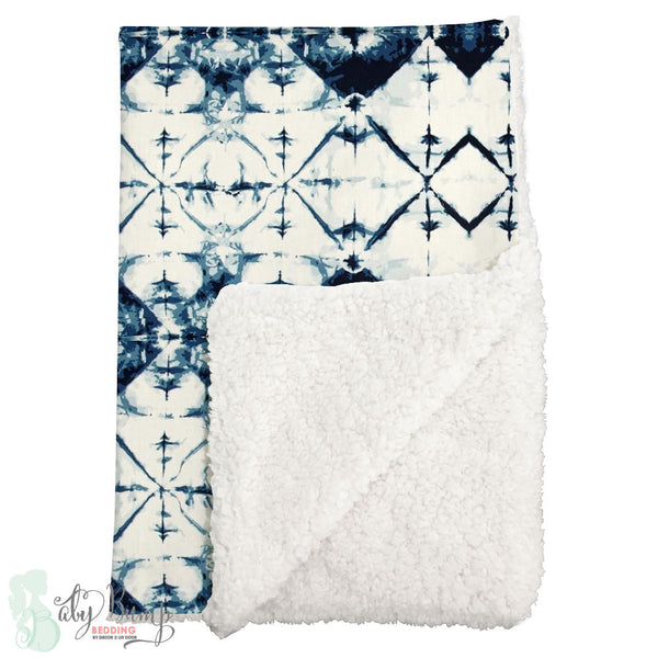 Navy & White Ombre Tribal Sherpa Baby Blanket
