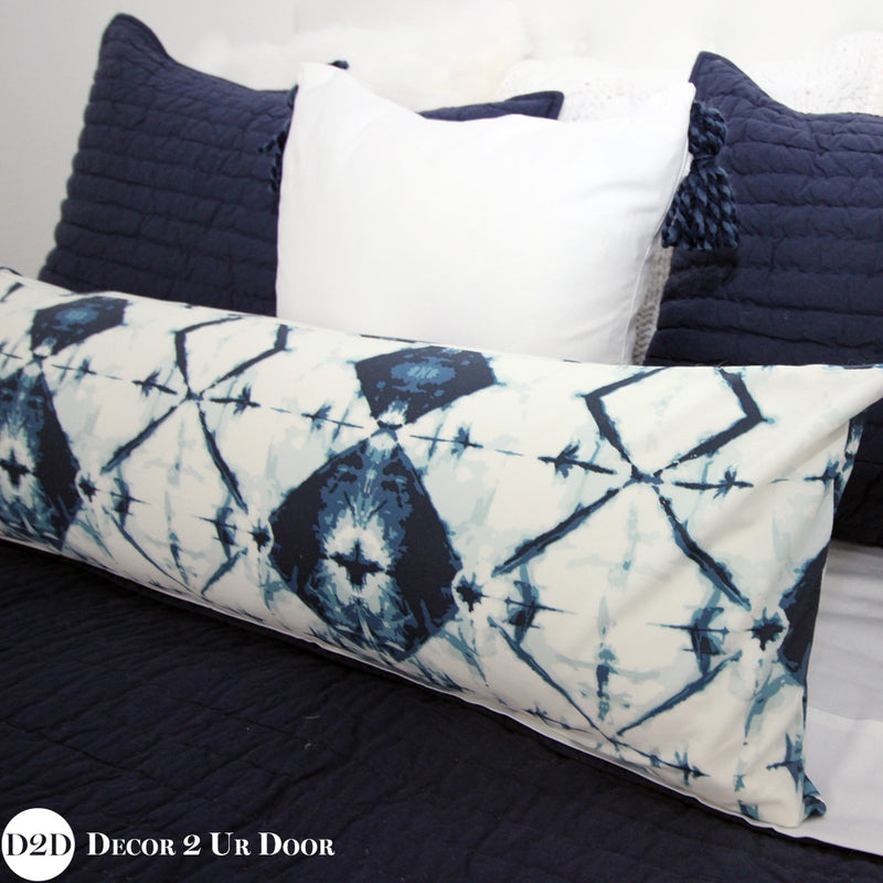White & Navy Tassels Square Pillow Cover