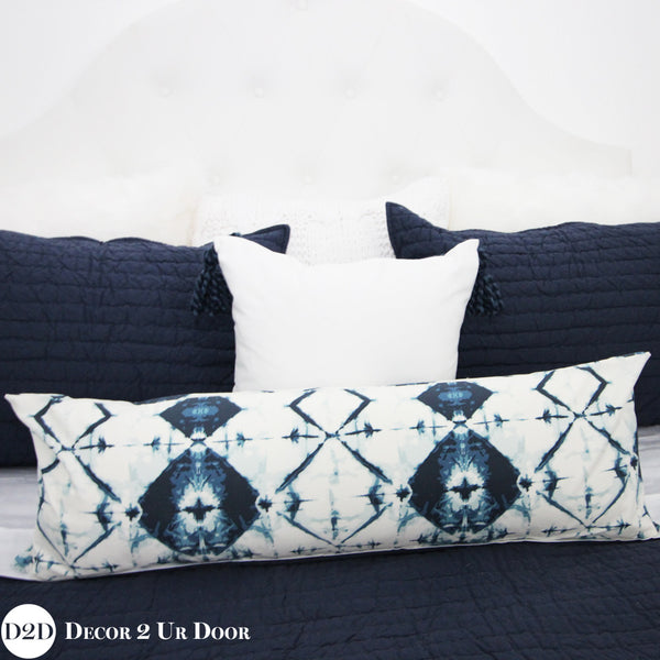Navy & White Ombre Tribal Long Lumbar Pillow Cover