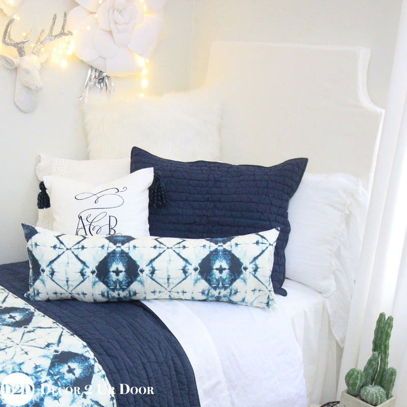 Designer White & Navy Blue Ombre Dorm Bedding Set