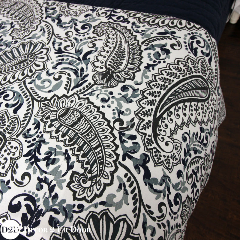Navy Paisley Bed Scarf