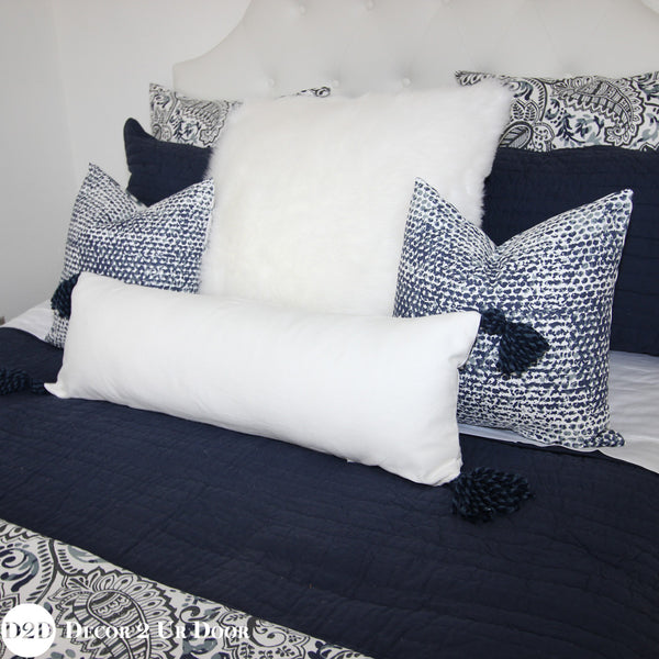 Navy & White Paisley Euro Pillow Cover