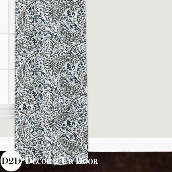 Navy & White Paisley Custom Window Curtain/Closet Panel