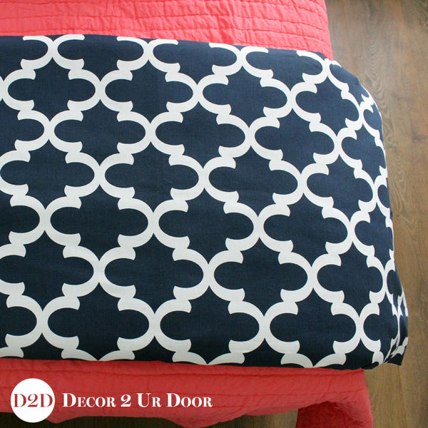 Navy & White Quatrefoil Bed Scarf