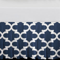 "Navy Quatrefoil 15"" Drop Bed Skirt"