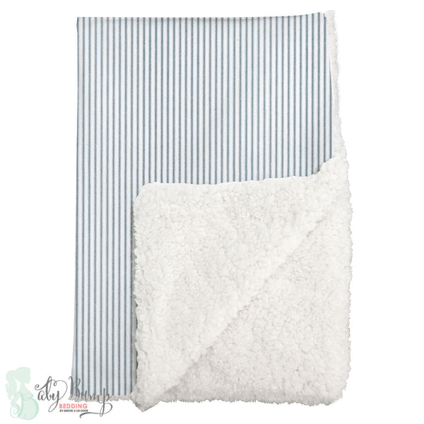 Navy & White Ticking Stripe Sherpa Baby Blanket