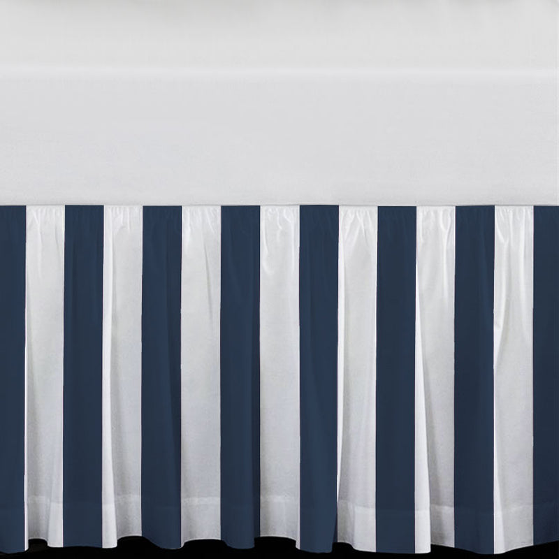 "Navy & White Stripes 15"" Drop Bed Skirt"