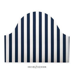 Navy and White Stripes Padded Fabric Headboard